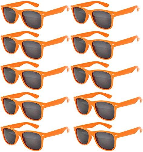 Vintage Retro Eyeglasses Sunglasses Smoke Lens 10 Pack Colored Colors Frame OWL (Orange_Smoke_10_Pairs, PC - Owl Sunglasses