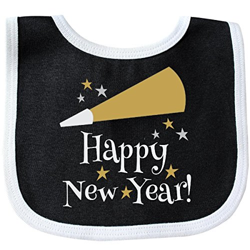 Inktastic - Happy New Year holiday Baby Bib Black/White 20813 ()