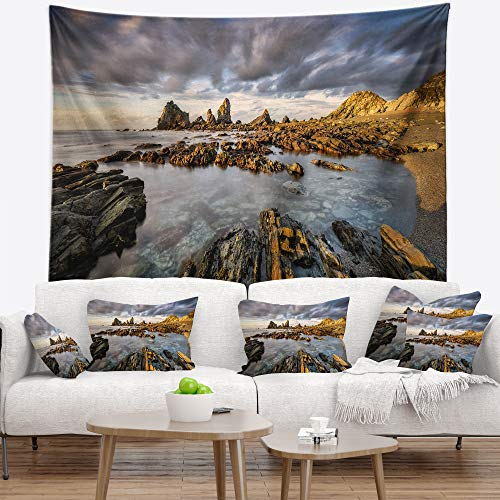 Designart TAP9230-60-50 'Atlantic Coast in Spain' Seashore Photography Tapestry Blanket Décor Wall Art for Home and Office, Large: 60 in. x 50 in, Created on Lightweight Polyester Fabric by Designart