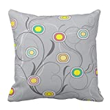 Gray Stripe Printed and Colorful Circles Pattern Square Throw Pillow Case Decorative Cushion Cover Pillowcase
