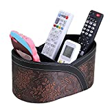 Vanity Stand Natoo Leather TV Remote Control Holder Organizer / Controller TV Guide Mail / CD Organizer / Caddy for Desk Caddy Office Pens Pencils Makeup Brushes Vanity Nightstand Holder (Brown-M)