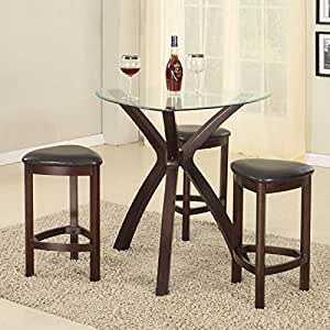 Roundhill furniture 4 piece triangle solid wood bar table and stools set espresso - Triangle kitchen table set ...