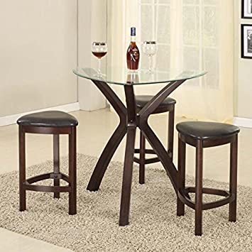 Roundhill Furniture 4 Piece Triangle Solid Wood Bar Table And Stools Set,  Espresso