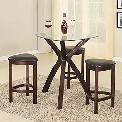 Charming Roundhill Furniture 4 Piece Triangle Solid Wood Bar Table And Stools Set,  Espresso