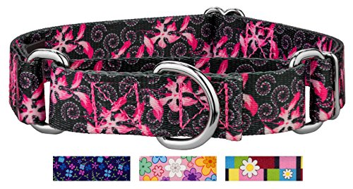 Collar Designer Dog Swirls (Country Brook Petz | Pink Honeysuckle Breeze Martingale Dog Collar - Small)
