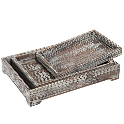 Antique Whitewash Wood - Whitewash Brown Wood Nesting Breakfast Serving Trays, 3 Piece Decorative Display Tray Set