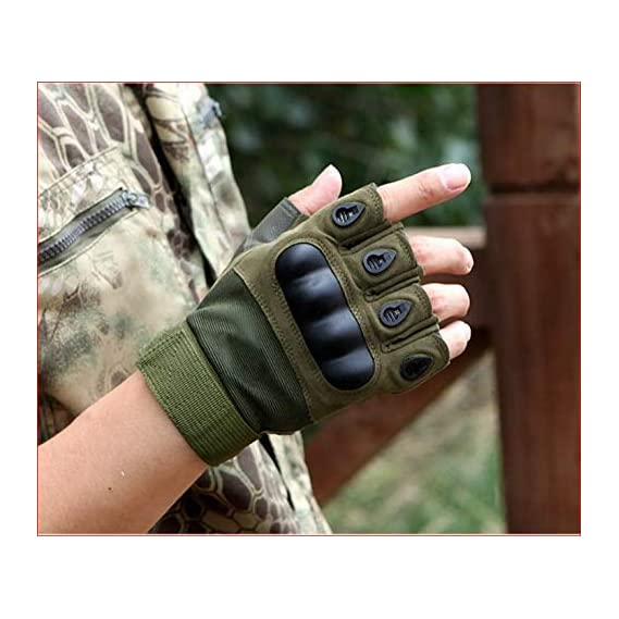 Cratos Men's Half Finger Motorcycle Riding Gloves (Military Green, Large)
