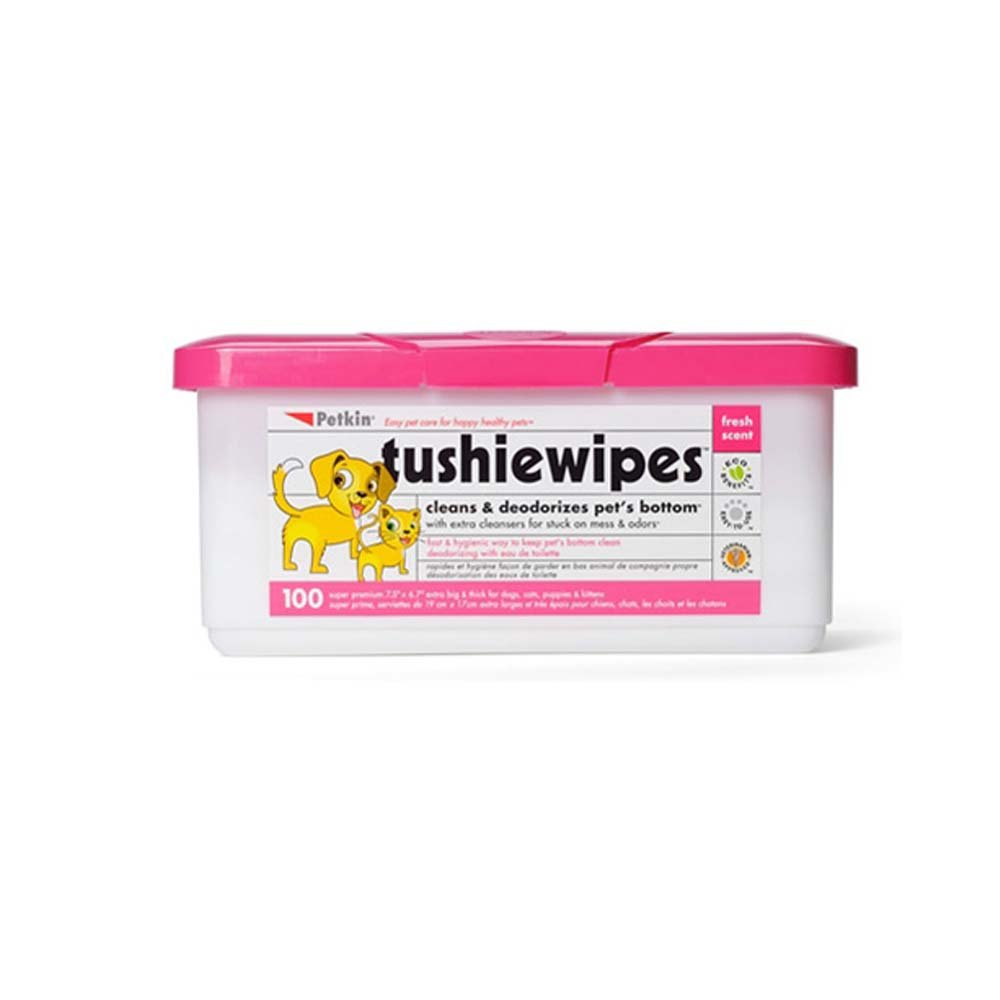 Petkin Tushie Wipes 100 count (Pack Of 4)
