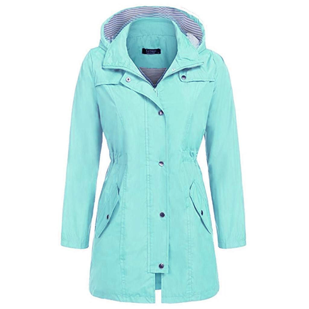 Dainzuy Women's Raincoats Windbreaker Rain Jacket Waterproof Lightweight Outdoor Hoodie Trench Coats with Pocket Mint Green by Dainzuy Women Winter Clothes