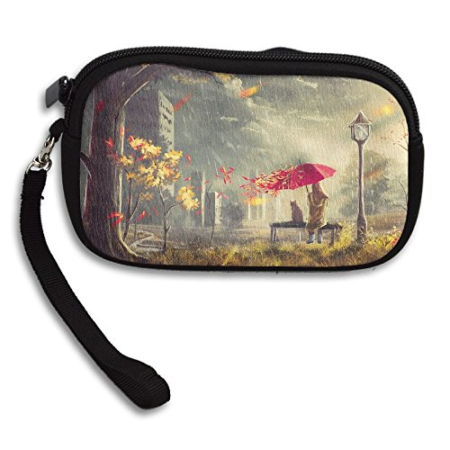 100% Polyester Cosmetic Bag, Autumn Street Girl Wind Leaves Umbrella Cat from USYOYOGA