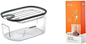 Anova Culinary ANTC01 Sous Vide Cooker Cooking container, Holds Up to 16L of Water, With Removable Lid and Rack & Anova Rolls Vacuum sealer bags, One size, Clear