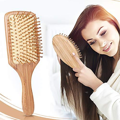 Hair Brush - ELVASEN 2 Pack Natural Wood Paddle Brush Detangling Scalp Bamboo Massage Hair Comb - Organic Wooden Bristle Cushion Hairbrush for Thick Curl Hair (Bass Hair Wooden Brush)