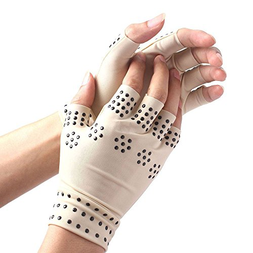 Magnetic Anti-Arthritis Pain Relief Fingerless Therapy Gloves by Tonewear