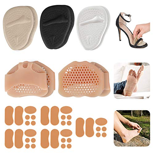 AMAZECO 3 Pair Metatarsal Pads Ball of Foot Cushions, 2 Pairs Silicone Foot Pads, 5 Sheet Moleskin Tape Flannel Adhesive Pads Toe Separators Stretchers All Day Pain Relief