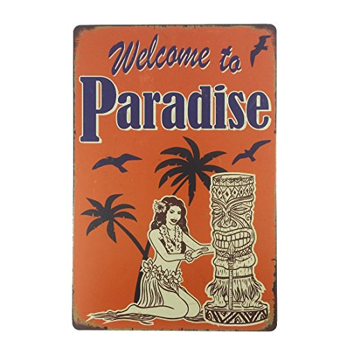 12x8 Inches Pub,bar,beverage,beer Series Wall Decor Hanging Metal Tin Sign Plaque (Welcome to Paradise) - Novelty Metal Signs