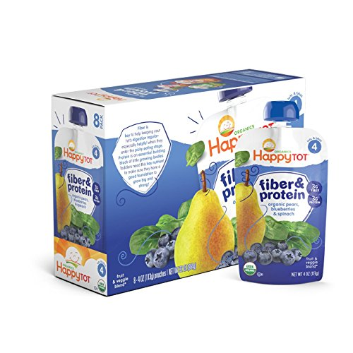 Happy Tot Organic Stage 4 Fiber & Protein, Pears, Blueberries & Spinach, 4 Ounce (Pack of 16) (Packaging May Vary) ()