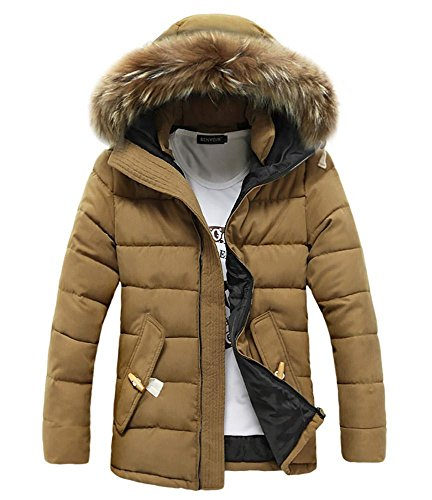 Outerwear Winter Men Casual Padded Hooded Warm Cotton Jacket Zippered Thicken 3XL M khaki Sxazxdqw