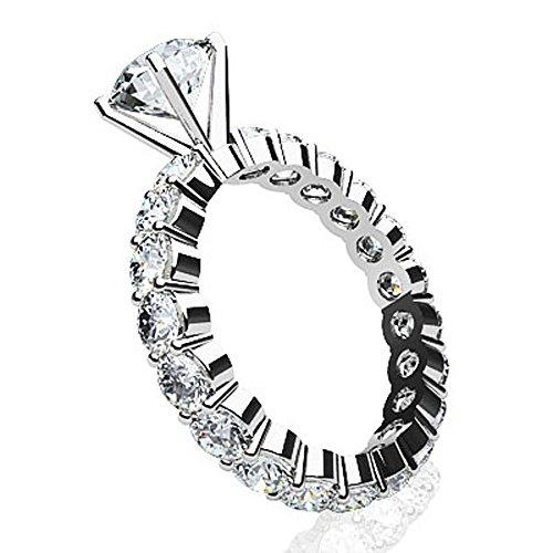 Or blanc 14K partagé Attaches Eternity Style Bague de fiançailles