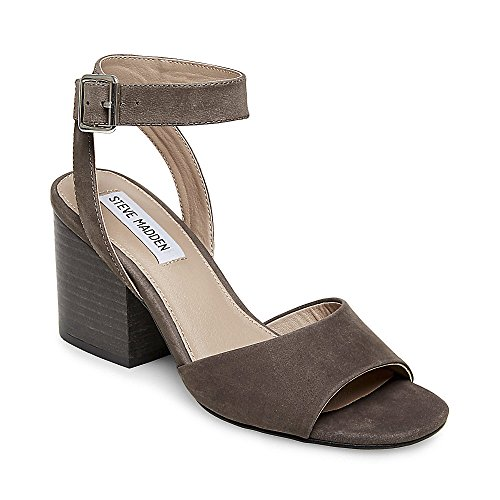 Steve Madden Womens Devlin Leather Peep Toe Casual Ankle, Grey Nubuck, Size 6
