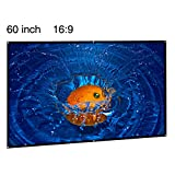 EUG 60 Inch Portable Projector Screen 16:9 Wide Projection Screens Wall/Ceiling Mount Screen for Home Cinema/Meeting/Presentations/Outdoor Matte White