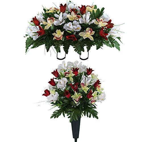 Sympathy Silks Artificial Cemetery Flowers - Realistic Vibrant Tulips, Outdoor Grave Decorations - Non-Bleed Colors, and Easy Fit - One Red White Tulip Bouquet and One Red White Tulip Saddle