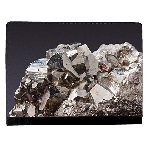 Image Of Pyrite Fools Gold Against Black Background Apple iPad Pro 12.9 Inch Leather Flip Tablet Case