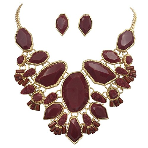 Gypsy Jewels Abstract Bib Statement Boutique Gold Tone Necklace & Earrings Set - Assorted Colors (Dark Red Maroon) ()