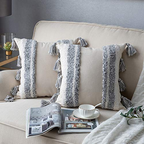 Decorative Throw Pillow Covers for Couch Sofa Bed, 2 Pack 100% Cotton Square Pillow Cases, Woven Tufted Pillowcases with Tassels, Accent Boho Cushion Covers for Farmhouse, Kids, 18 x 18 Inch Grey (Textured Throw Pillow Grey)