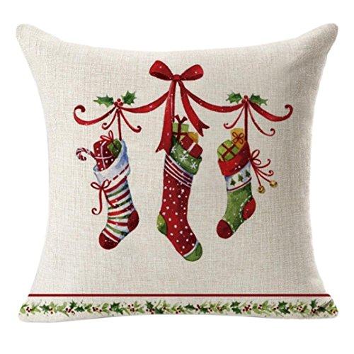Clearance. Hmlai décoratifs Taie d'oreiller de Noël en lin carré Throw Lin Taie d'oreiller Coussin décoratif Taie d'oreiller, 45cmx45cm