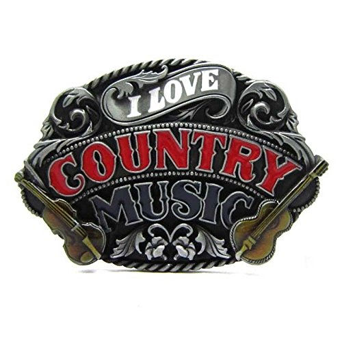 Red Country Dance Music Classic Vintage Electric Guitar Rock Music Lot Mens Leather Belt Buckle by Belt Buckle (Image #1)