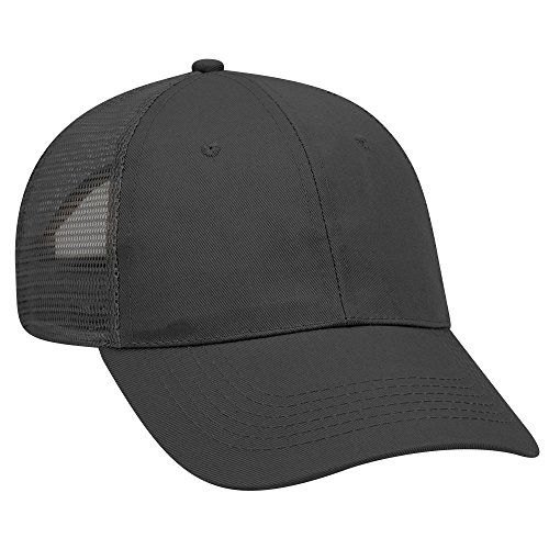 end Twill 6 Panel Low Profile Mesh Back Trucker Hat - Black ()