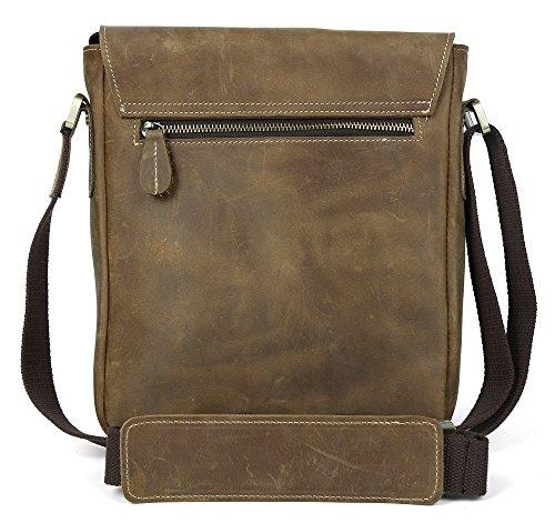 Tiding Men's Genuine Leather Messenger Shoulder School Satchel 10284