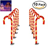 YUNLIGHTS Candy Cane Pathway Lights Christmas Pathway Marker- 27 Inches Tall - Set of 10