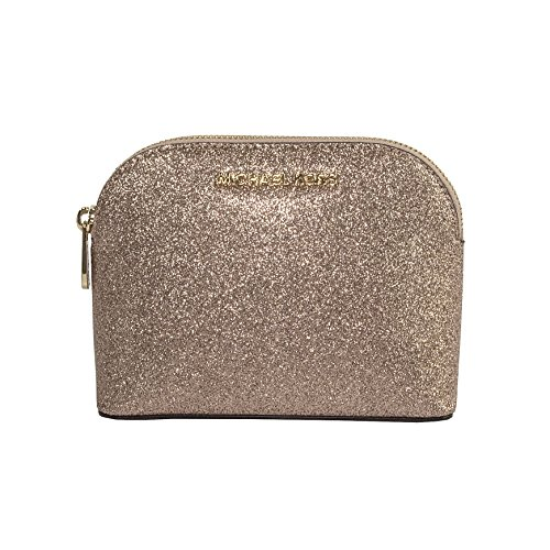 Michael Kors Rose Gold Glitter Leather Medium Cosmetic - Glitter Michael Kors