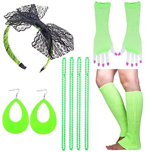 IETANG Women's Rainbow Long Gloves Socks and 3 Layered Tulle Tutu Skirt Party Accessory Set (Set - Beads Sock