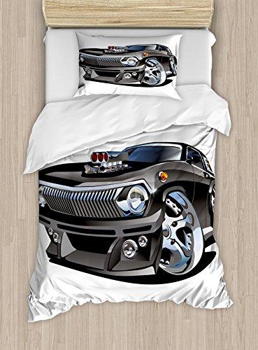 - Lunarable Nursery Duvet Cover Set, Retro Hot Rod Classic Muscle Car Giant Wheel Hobby Passion Automobile Print, Decorative 2 Piece Bedding Set with 1 Pillow Sham, Twin Size, Grey Black
