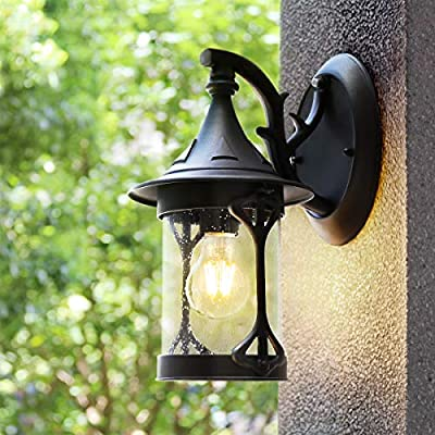 Outdoor Sconces House Light Wall Mount, Dusk to Dawn Outdoor Light Lantern Wall Light with E26 6W Led Light Bulb, Anti-Rust Seeded Glass Waterproof Black Lamp for Garden, Porch, Villas