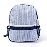 Mright 2-5 Years Personalize Seersucker Backpack Toddler Backpack Preppy Kids School Bookbag (Navy)