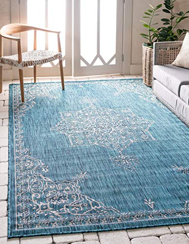 Transitional Outdoor Rug - Unique Loom Outdoor Traditional Collection Classic Medallion Transitional Indoor and Outdoor Flatweave Teal  Area Rug (6' 0 x 8' 0)