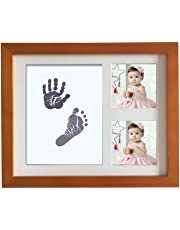 Baby Handprint Kit Hand & Footprint Makers DIY Keepsakes Picture Photo Frame for Newborn Baby Pets Shower Gifts Room Wall Table Décor Boy Girls (The walnut color)