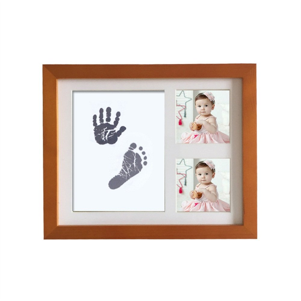 Baby Handprint Kit Hand & Footprint Makers DIY Keepsakes Picture Photo Frame for Newborn Baby Pets Shower Gifts Room Wall Table Décor Boy Girls (The walnut color) CJC