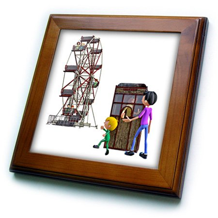 Boehm Graphics Cartoon - A Cartoon Father and Son about to ride a Ferris Wheel - 8x8 Framed Tile (ft_245588_1)