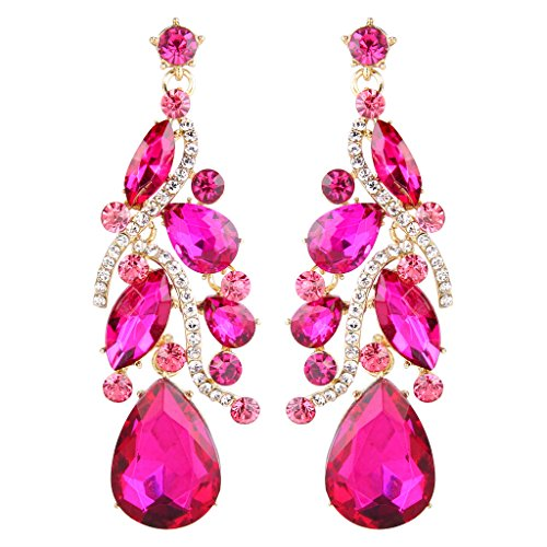 BriLove Women's Bohemian Boho Crystal Multi Teardrop Filigree Cluster Chandelier Dangle Earrings Fuchsia Gold-Tone - Jewelry Pink Rhinestone