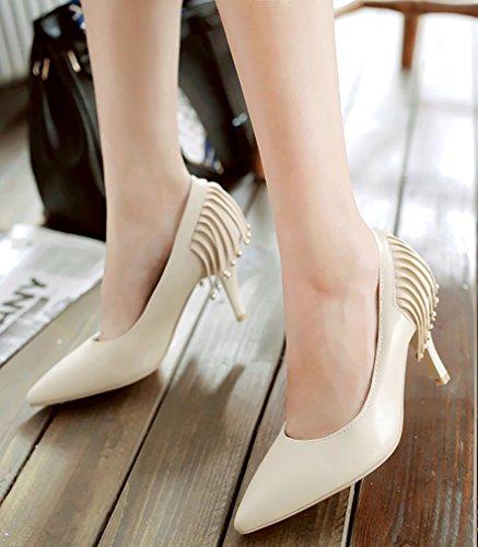 Calaier Damen Jtabb 8CM Stiletto Schlüpfen Pumps Schuhe Elfenbein