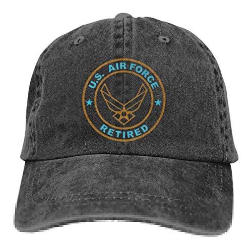 Unisex Us Air Force Retired Vintage Chic Denim Adjustable Trucker Hats Baseball Cap Black -