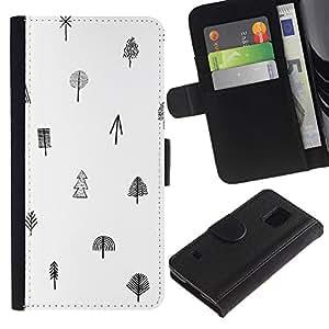 iBinBang / Flip Funda de Cuero Case Cover - Patrón Árbol Blanco Negro minimalista Limpio - Samsung Galaxy S5 V SM-G900