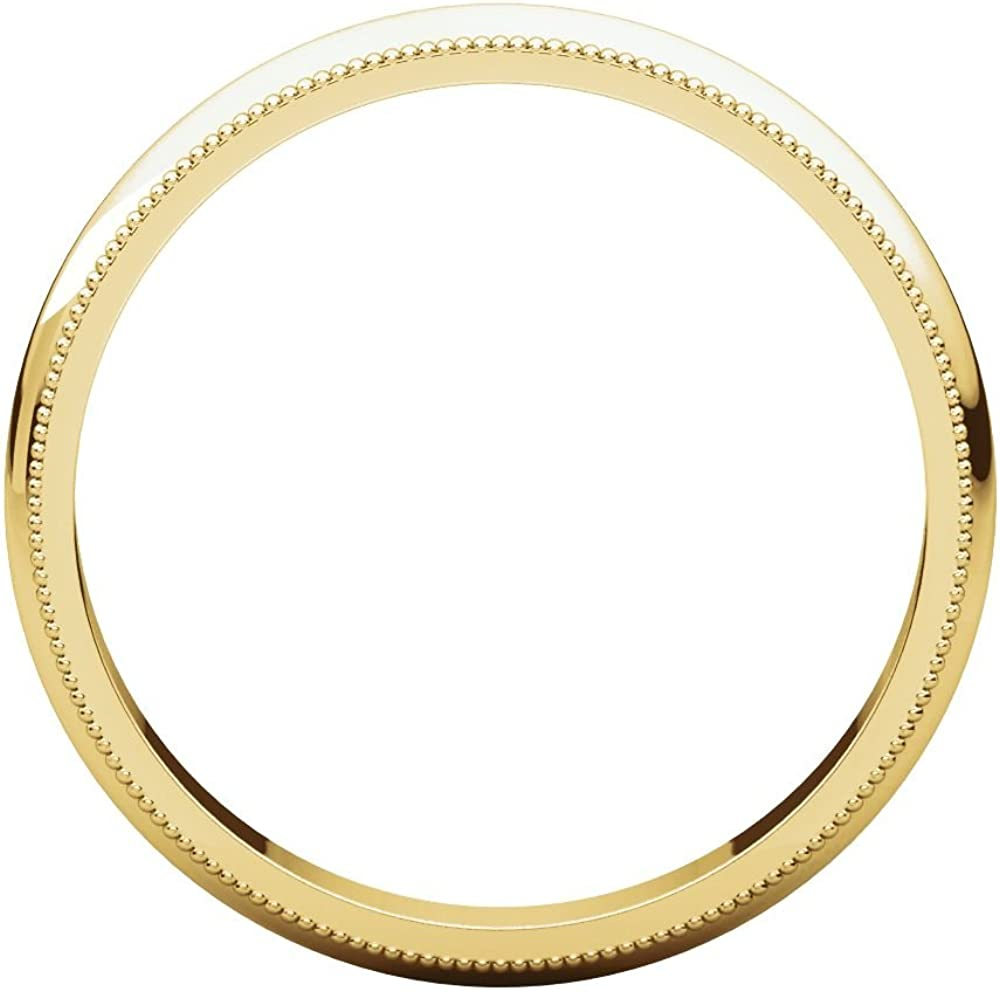 10K Yellow Gold 3mm Milgrain Band