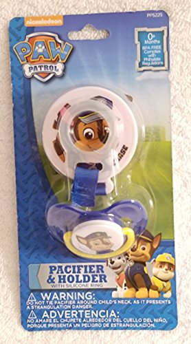 Chase Pacifier and Holder with Silicone Ring Set Compatible with Paw Patrol (Paws Pacifier)