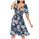 Mikilon Women's Crossover Wrap V Neck Short Sleeve Bowknot Casual Swing A Line Boho Floral Print Belted Dress Blue