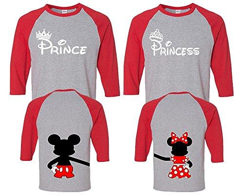 Prince Princess Couple Shirts, Matching Couple Shirts, Disney Shirts, King And Queen Shirts Red - Grey Man Medium - Woman (Disney Princess Couples)